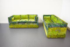 Pair of Mid Century Box Sofas with Original Jack Lenor Larsen Fabric - 1468447