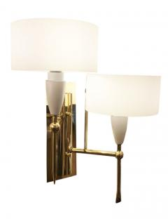 Pair of Mid Century Brass and Glass Sconces - 1691498