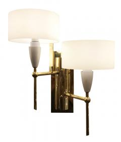 Pair of Mid Century Brass and Glass Sconces - 1691500