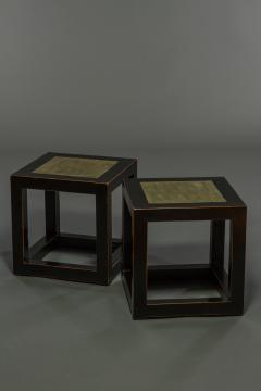 Pair of Mid Century Chinese Black Lacquer Cube Stone Top Tables - 1662886