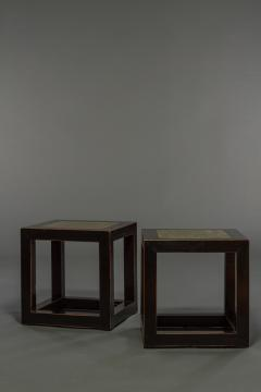 Pair of Mid Century Chinese Black Lacquer Cube Stone Top Tables - 1662896