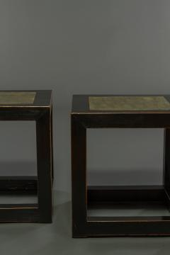 Pair of Mid Century Chinese Black Lacquer Cube Stone Top Tables - 1662897