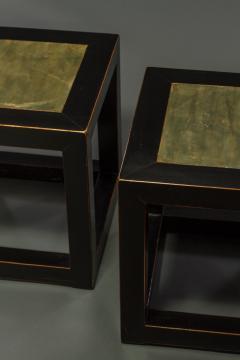 Pair of Mid Century Chinese Black Lacquer Cube Stone Top Tables - 1662900
