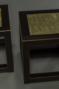 Pair of Mid Century Chinese Black Lacquer Cube Stone Top Tables - 1662901