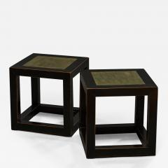 Pair of Mid Century Chinese Black Lacquer Cube Stone Top Tables - 1666668