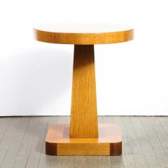 Pair of Mid Century End Tables in Hand Rubbed Bookmatched Elm w Walnut Inlay - 1950226