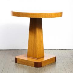 Pair of Mid Century End Tables in Hand Rubbed Bookmatched Elm w Walnut Inlay - 1950227