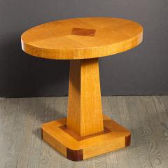 Pair of Mid Century End Tables in Hand Rubbed Bookmatched Elm w Walnut Inlay - 1950231
