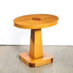 Pair of Mid Century End Tables in Hand Rubbed Bookmatched Elm w Walnut Inlay - 1950242