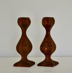 Pair of Mid Century Hand Carved Wooden Candlesticks - 1015694