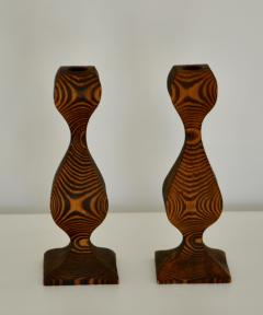 Pair of Mid Century Hand Carved Wooden Candlesticks - 1015697