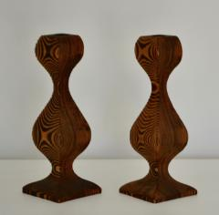 Pair of Mid Century Hand Carved Wooden Candlesticks - 1015698
