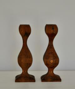 Pair of Mid Century Hand Carved Wooden Candlesticks - 1015699