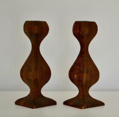 Pair of Mid Century Hand Carved Wooden Candlesticks - 1015702