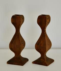 Pair of Mid Century Hand Carved Wooden Candlesticks - 1015703