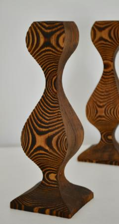 Pair of Mid Century Hand Carved Wooden Candlesticks - 1015704