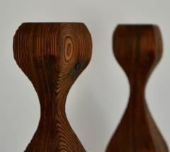 Pair of Mid Century Hand Carved Wooden Candlesticks - 1015706