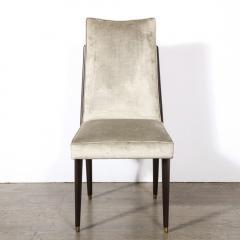Pair of Mid Century Modern Ebonized Walnut Platinum Velvet Side Chairs - 2004912