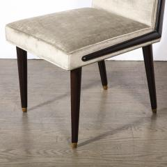 Pair of Mid Century Modern Ebonized Walnut Platinum Velvet Side Chairs - 2004913