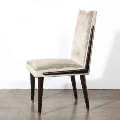 Pair of Mid Century Modern Ebonized Walnut Platinum Velvet Side Chairs - 2004914
