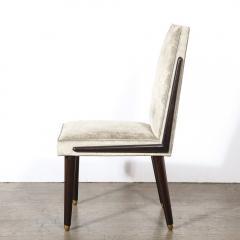 Pair of Mid Century Modern Ebonized Walnut Platinum Velvet Side Chairs - 2004927