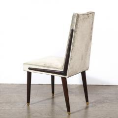 Pair of Mid Century Modern Ebonized Walnut Platinum Velvet Side Chairs - 2004928