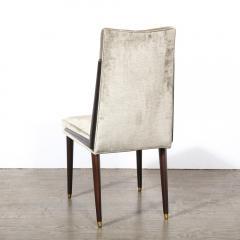 Pair of Mid Century Modern Ebonized Walnut Platinum Velvet Side Chairs - 2004929