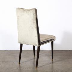 Pair of Mid Century Modern Ebonized Walnut Platinum Velvet Side Chairs - 2004930