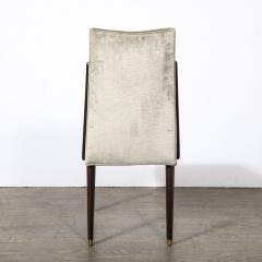 Pair of Mid Century Modern Ebonized Walnut Platinum Velvet Side Chairs - 2004936