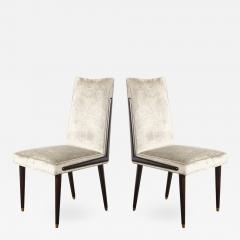 Pair of Mid Century Modern Ebonized Walnut Platinum Velvet Side Chairs - 2010076