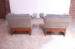Pair of Mid Century Modern Floating Lounge Chairs in Walnut and Velvet - 1072566