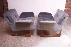 Pair of Mid Century Modern Floating Lounge Chairs in Walnut and Velvet - 1072567
