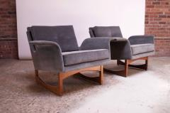 Pair of Mid Century Modern Floating Lounge Chairs in Walnut and Velvet - 1072573