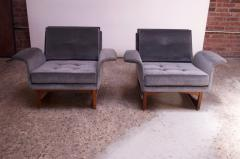 Pair of Mid Century Modern Floating Lounge Chairs in Walnut and Velvet - 1072577