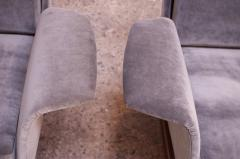 Pair of Mid Century Modern Floating Lounge Chairs in Walnut and Velvet - 1072590