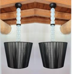 Pair of Mid Century Modern Italian Murano glass and shades chandeliers - 1027597