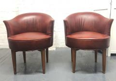 Pair of Mid Century Modern Leather Swivel Chairs - 1769792