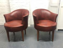 Pair of Mid Century Modern Leather Swivel Chairs - 1769795