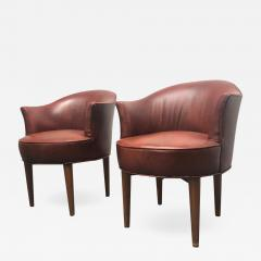 Pair of Mid Century Modern Leather Swivel Chairs - 1770002