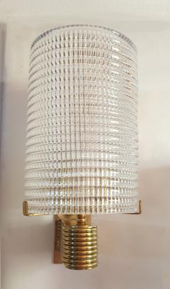 Pair of Mid Century Modern Murano glass brass sconces Italy 1960s - 1089838
