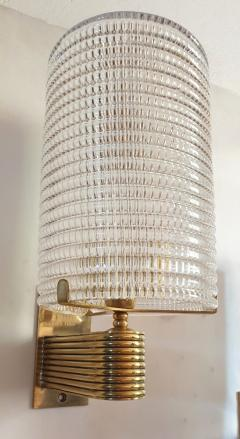 Pair of Mid Century Modern Murano glass brass sconces Italy 1960s - 1089839