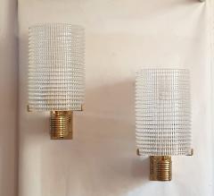 Pair of Mid Century Modern Murano glass brass sconces Italy 1960s - 1089840