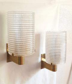 Pair of Mid Century Modern Murano glass brass sconces Italy 1960s - 1089841