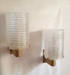 Pair of Mid Century Modern Murano glass brass sconces Italy 1960s - 1089842