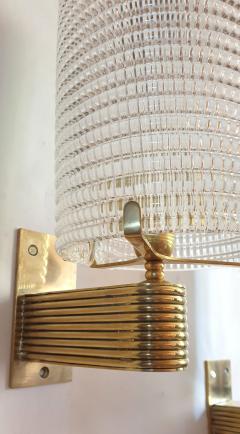 Pair of Mid Century Modern Murano glass brass sconces Italy 1960s - 1089844