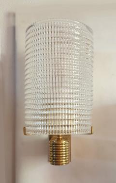 Pair of Mid Century Modern Murano glass brass sconces Italy 1960s - 1089845