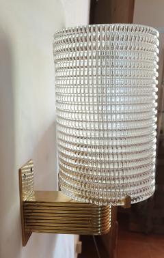 Pair of Mid Century Modern Murano glass brass sconces Italy 1960s - 1089852