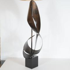 Pair of Mid Century Modern Sculptural Brutalist Patinated Steel Ribbon Lamps - 1483916