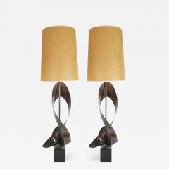 Pair of Mid Century Modern Sculptural Brutalist Patinated Steel Ribbon Lamps - 1486326