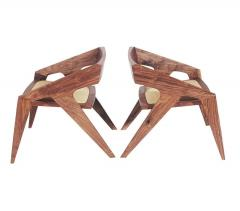 Pair of Mid Century Modern Studio Hank Lounge Chairs by Jory Brigham in Walnut - 1749199